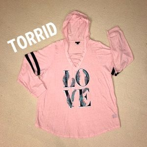 Torrid Lace Up Long Sleeve Football Crew - Size:3X